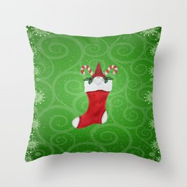 Cute Gnome in Red Christmas Stocking Candy Canes Holly Leaves Throw Pillow