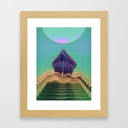 Surfing The Big Wave Searching Mermaids Framed Art Print