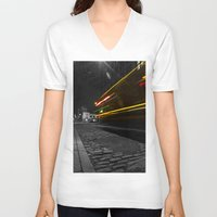 dumbo V-neck T-shirts featuring DUMBO Light trail by Juha Photography