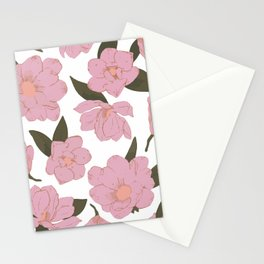 Cold pink magnolias pattern Stationery Cards