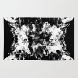 Electrifying black and white sparkly triangle flames Rug