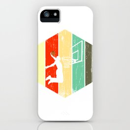 A Basketball Tee For Players With A Vintage Retro Silhouette Of A Man Showing His Skills T-shirt iPhone Case