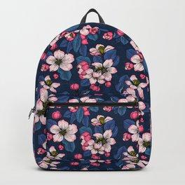 Apple blossom on  dark blue Backpack