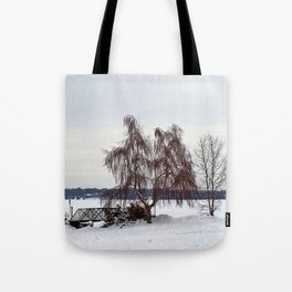 Weeping Willow on the Frozen Lake Tote Bag