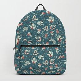 Winter herps in dark blue Backpack