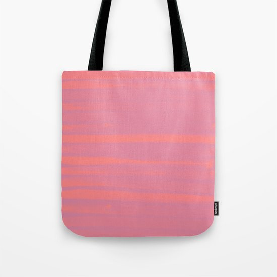 Peach Earth Lines, Pink Stripes Tote Bag