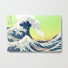 Great Wave Off Kanagawa Yellow and Green Metal Print
