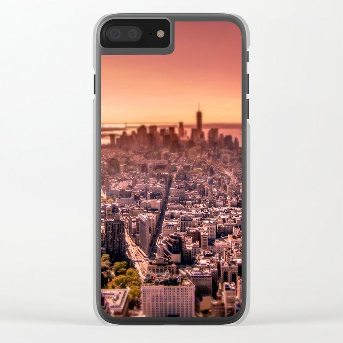 Manhattan in red Clear iPhone Case