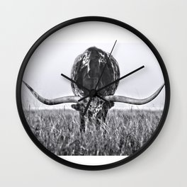B&W Longhorn Wall Clock