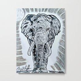 'TEMBO' Original Elephant Art Drawing Metal Print
