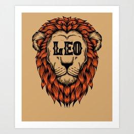Leo Lion Zodiac Horoscope Astrology Birthday Art Print