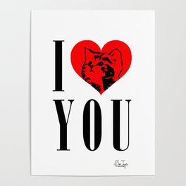 I Heart You Kitty Poster