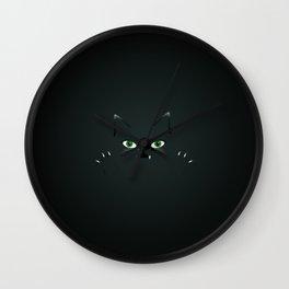 Cute cat face in the dark Wall Clock
