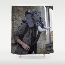 Sneakerhead Elephant Gas Mask by Freehand Profit Shower Curtain