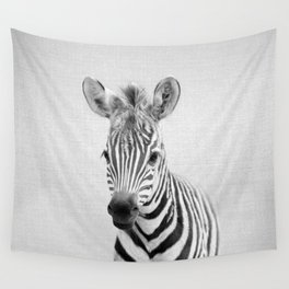 Baby Zebra - Black & White Wall Tapestry
