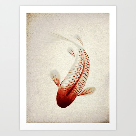 Red and Silver Koi Art Print