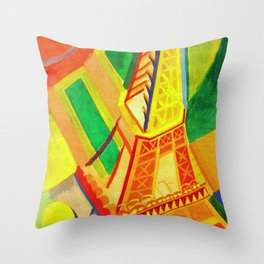 Eiffel Tower by Robert Delaunay - Vintage Painting Throw Pillow