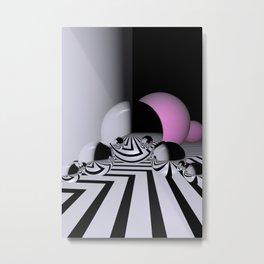 black-white and pink Metal Print