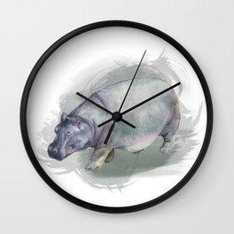 Watercolor Hippo Wall Clock