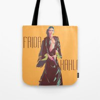 frida kahlo Tote Bags featuring Frida Kahlo by antoniopiedade