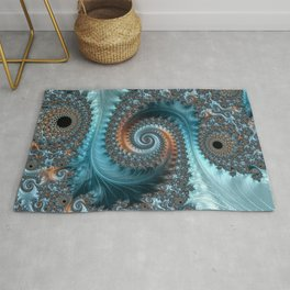 Feathery Flow - Teal and Taupe Fractal Art Rug