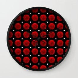 Red Carnation Polka Dot Wall Clock