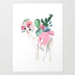 Cacti Llama Art Print