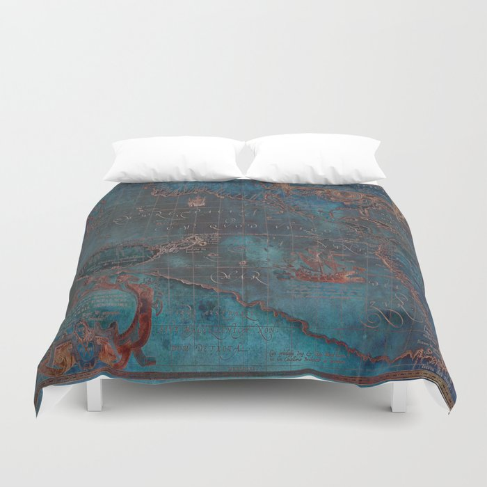 Antique Map Teal Blue and Copper Bettbezug
