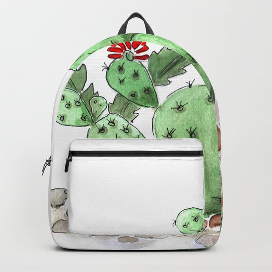 Cactus watercolor illustration Backpack