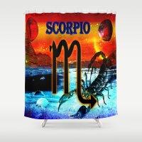 scorpio Shower Curtains featuring Scorpio by LBH Dezines