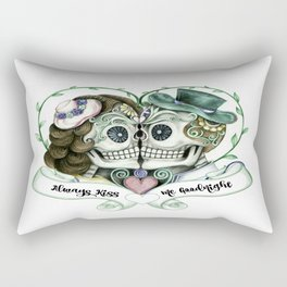 Skull Couple Always Kiss Me Goodnight Rectangular Pillow