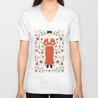 mary poppins V-neck T-shirts featuring Mary Poppins by Carly Watts