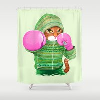 boxing Shower Curtains featuring BOXING CAT 4 by Tummeow