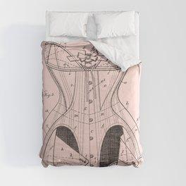 Antique Corset Patent Pink Blueprint Comforters