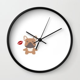 I Kissed A Frenchie And I Liked It Cute Dog Kiss Gift Idea Wall Clock