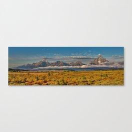 TheGrand Teton National Park in the Fall Panorama Canvas Print