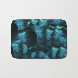 blue black abstract spherical shapes Bath Mat