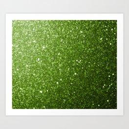 Beautiful light green greenery glitter sparkles Art Print