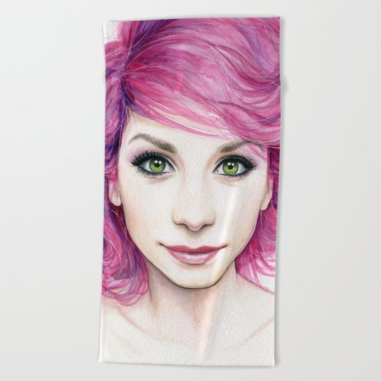 Pink Hair Green Eyes Beautiful Girl Beach Towel