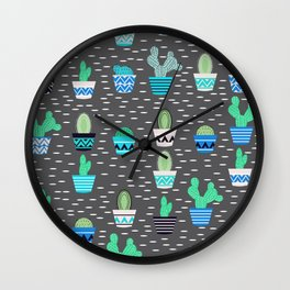 Potted cacti on a gray background Wall Clock