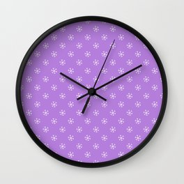 White on Lavender Violet Snowflakes Wall Clock