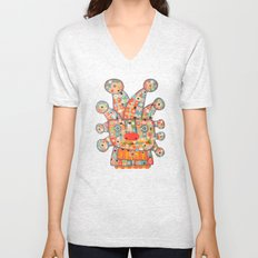 Clown with Flower Unisex V-Neck
