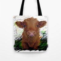 cow Tote Bags featuring cow by Vector Art