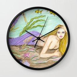 Utopia Mermaid Fantasy Art by Laurie Leigh Wall Clock