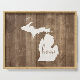Michigan is Home - White on Wood Serving Tray