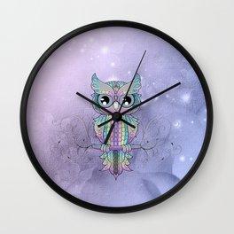 Wonderful colorful mandala owl Wall Clock