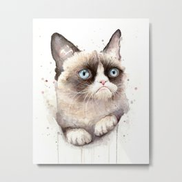 Grumpy Watercolor Cat Animals Meme Geek Art Metal Print