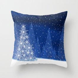 Snowy Night Christmas Tree Holiday Design Throw Pillow