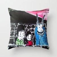 donnie darko Throw Pillows featuring Donnie Darko - At the Cinema  by Ayemaiden