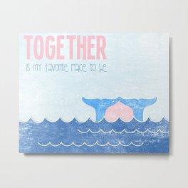 Together - Pink Heart Metal Print
